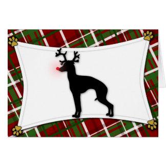 イタリアン・グレーハウンドのトナカイのクリスマスカード カード
