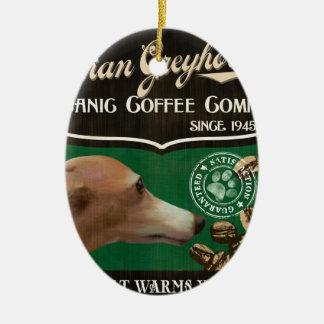 イタリアン・グレーハウンドのブランド- Organic Coffee Company セラミックオーナメント