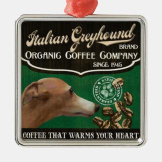 イタリアン・グレーハウンドのブランド- Organic Coffee Company メタルオーナメント