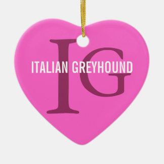 イタリアン・グレーハウンドの品種モノグラム セラミックオーナメント