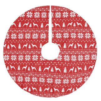 イタリアン・グレーハウンドはクリスマスパターンのシルエットを描きます ブラッシュドポリエステルツリースカート