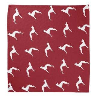 イタリアン・グレーハウンドはパターン赤のシルエットを描きます バンダナ