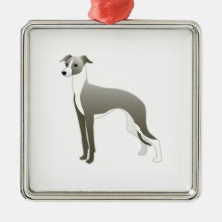 イタリアン・グレーハウンド犬の品種絵Silhouett メタルオーナメント