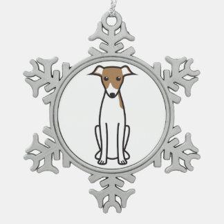 イタリアン・グレーハウンド犬の漫画 スノーフレークピューターオーナメント