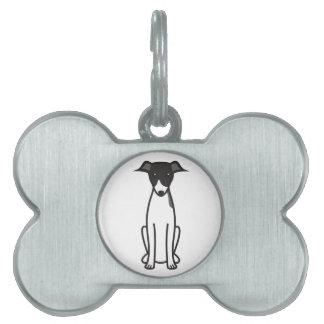 イタリアン・グレーハウンド犬の漫画 ペットネームタグ