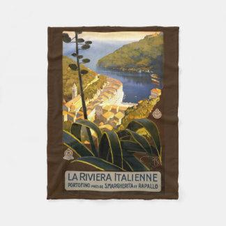 イタリア人のリビエラのヴィンテージ旅行フリースブランケット フリースブランケット