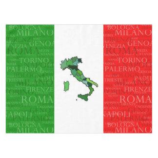 イタリア市、地図および旗 テーブルクロス