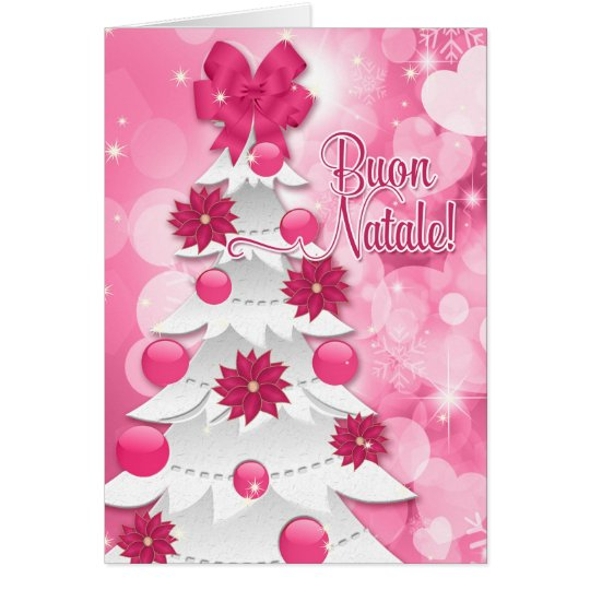 イタリア語のピンクのポインセチアのクリスマスツリー グリーティングカード
