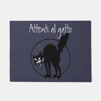イタリア語は黒いSabo猫の芸術の用心します ドアマット