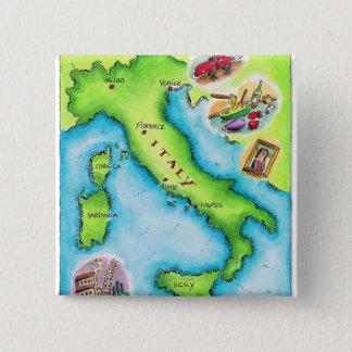 イタリア2の地図 5.1CM 正方形バッジ