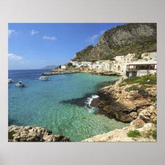 イタリア、シシリーのEgadi島、Levanzo、 ポスター