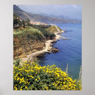 イタリア、シシリー。 シシリーの北岸 ポスター