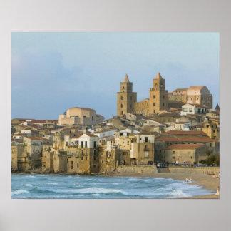 イタリア、シシリー、Cefalu、2からの大教会堂との眺め ポスター