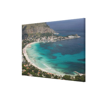 イタリア、シシリー、Mondello、ビーチの眺めからの キャンバスプリント