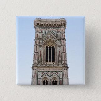 イタリア、フィレンツェの古い町のタワー 5.1CM 正方形バッジ