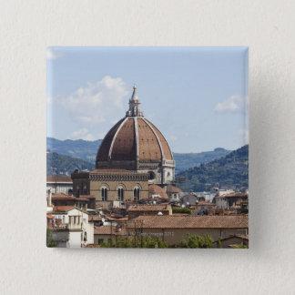 イタリア、フィレンツェの大教会堂との都市景観 5.1CM 正方形バッジ