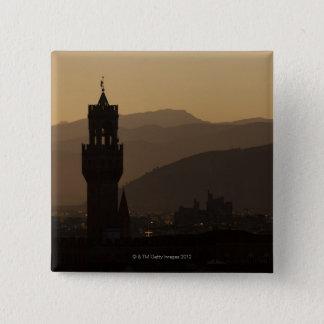 イタリア、フィレンツェの薄暗がりの都市のタワー 5.1CM 正方形バッジ