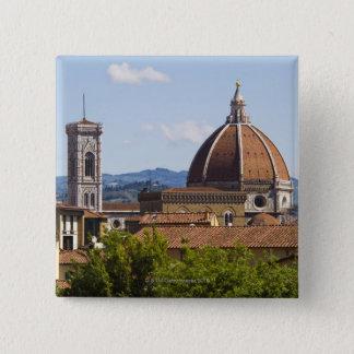 イタリア、フィレンツェ、フィレンツェのカテドラルの眺め 5.1CM 正方形バッジ