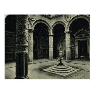 イタリア、フィレンツェ、フィレンツェ1908年の中庭 ポストカード