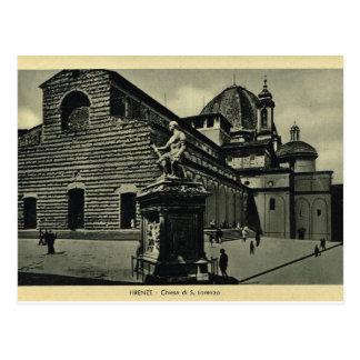 イタリア、フィレンツェ、フィレンツェ1908年、S.Lorenzo ポストカード