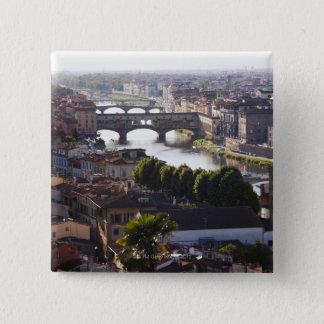 イタリア、フィレンツェ、Ponte VecchioおよびRiver Arno 5.1cm 正方形バッジ