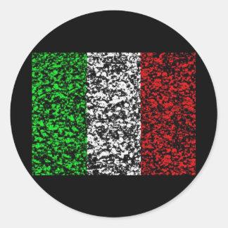 イタリア-旗 ラウンドシール