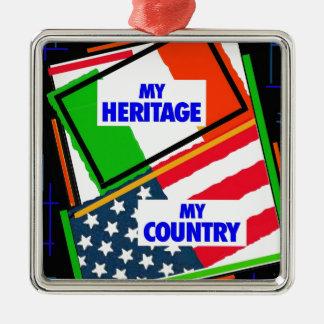 イタリア、…私の伝統、米国、…私の国 メタルオーナメント