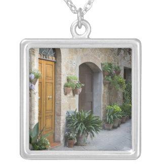 イタリア、Pienza。 植木鉢および鉢植えな植物 シルバープレートネックレス