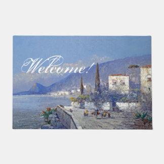 イタリアCapriの島の花の海の歓迎の玄関マット ドアマット