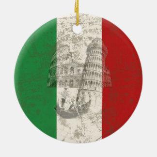 イタリアID157の旗そして記号 セラミックオーナメント