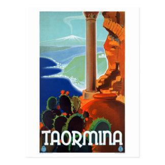 イタリアTaorminaシシリーのヴィンテージポスター ポストカード