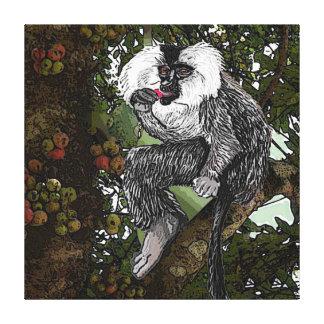 イチジク、水彩画を食べているライオンによって後につかれるマカク属 キャンバスプリント