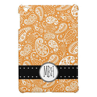 イニシャルが付いているかわいいオレンジペイズリーパターン iPad MINI カバー