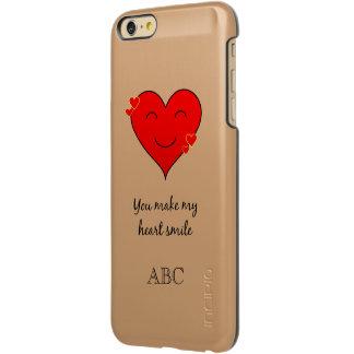 イニシャルのロマンチックなハートの習慣6/6sと incipio feather shine iPhone 6 plusケース