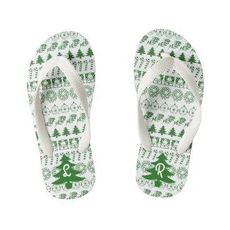 イニシャルの-緑かホワイトクリスマスのおもしろいのフォントパターン キッズビーチサンダル