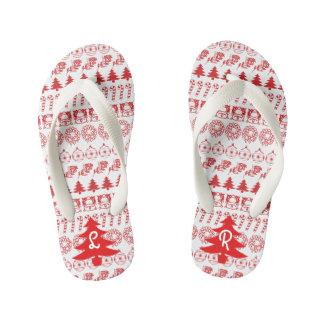 イニシャルの-赤いですかホワイトクリスマスのおもしろいのフォントパターン キッズビーチサンダル