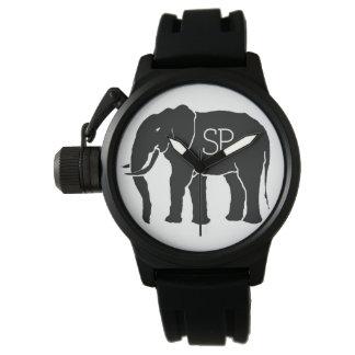 イニシャルを持つ白黒アフリカゾウ 腕時計