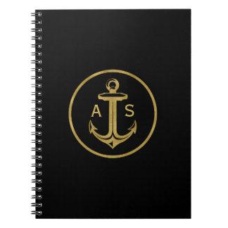 イニシャル|の航海のなギフトを持つスタイリッシュな金ゴールドのいかり ノートブック
