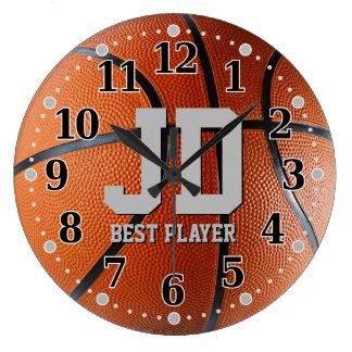 イニシャル-最も最高のなプレーヤー|のバスケットボールの柱時計 ラージ壁時計