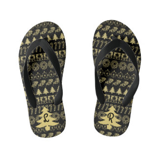 イニシャル-金ゴールドか黒いクリスマスのおもしろいのフォントパターン キッズビーチサンダル