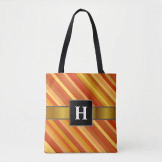 イニシャル; 金魚インスパイア着色されたストライプなパターン トートバッグ