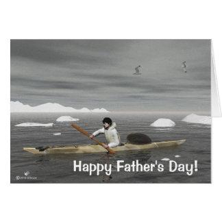 イヌイット族のカヤックの父の日 カード
