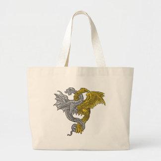 イヌワシおよび銀のドラゴン ラージトートバッグ