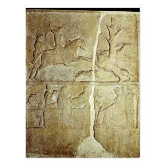 イノシシの狩りを描写するStelaのレリーフ、浮き彫り ポストカード