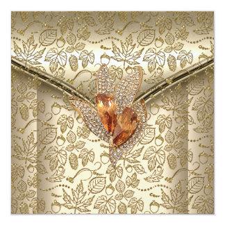 イベントのエレガントなダマスク織のカラメルのクリームベージュ色金ゴールド カード