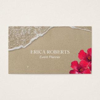 イベントプランナーのエレガントなビーチのハイビスカスの赤の花柄 名刺