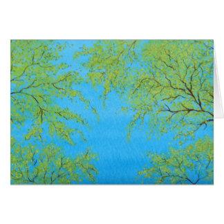 イメージの春は水彩画の絵画のプリントを去ります カード