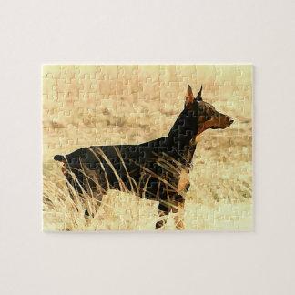 イメージを絵を描いている乾燥したリードのドーベルマン犬 ジグゾーパズル