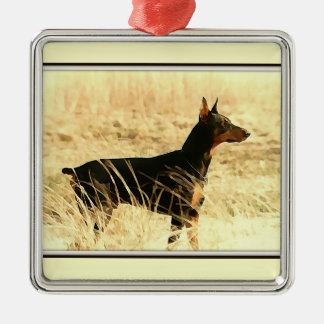 イメージを絵を描いている乾燥したリードのドーベルマン犬 メタルオーナメント
