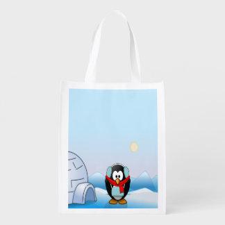 イヤーマフ、かわいい冬及びクリスマスのペンギン エコバッグ